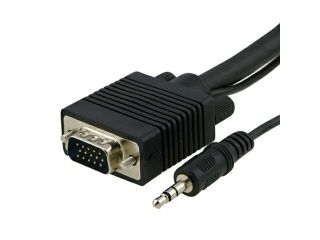 Black VGA Monitor extension Cable w/3.5mm Audio Male / Male (10FT / 3 M) for Xbox 360,Black